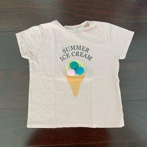 Zara summer ice cream shirt with pom, size 18/24mo